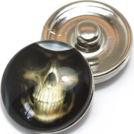 1pc 18mm Skull Snap On Charm White Black ZR395