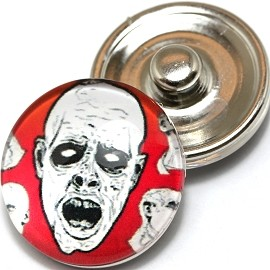 1pc 18mm Skull Snap On Charm White Black Red ZR398