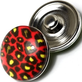 1pc 18mm Snap On Charm Camouflage Black Red ZR422