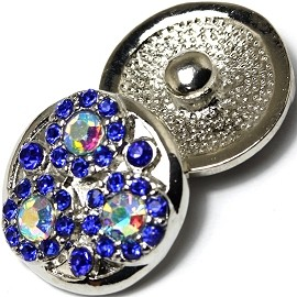 1pc 18mm Snap On Charm Rhinestone Blue ZR487