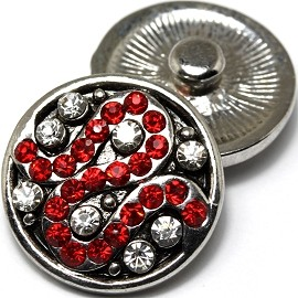 1pc 18mm Snap On Charm Rhinestone Red ZR502