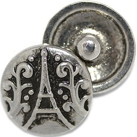 1pc 18mm Round Snap On Charm Eiffel Tower Paris Silver ZR509