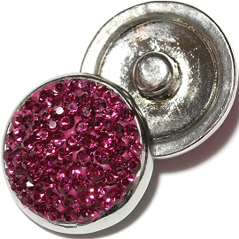 1pc 18mm Snap On Rhinestone Magenta ZR615
