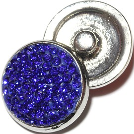 1pc 18mm Snap On Rhinestone Blue ZR619