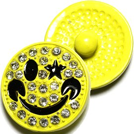 1pc 18mm Happy Face Star Snap On Rhinestones Yellow ZR642