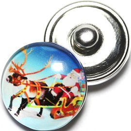 1pc 18mm Snap On Charm Santa Clause Reindeer Red Blue ZR647