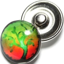 1pc 18mm Round Snap On Charm Tree Lime Red Green ZR677