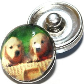 1pc 18mm Snap On Charm Round Dog Tan Green ZR714