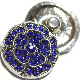 1pc 18mm Snap On Rhinestones Flower Silver Blue ZR738
