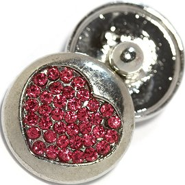 1pc 18mm Heart Snap On Rhinestones Silver Magenta ZR741