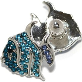 1pc 18mm Snap On Charm Fish Rhinestone Teal Silver ZR749