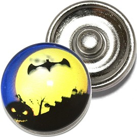 1pc 18mm Round Snap On Charm Halloween Bat Moon Yellow ZR786