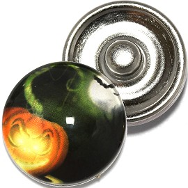 1pc 18mm Snap On Charm Round Halloween Pumpkin ZR787