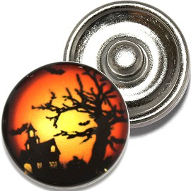 1pc 18mm Snap On Charm Round Halloween Night Tree Orange ZR790