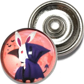 1pc 18mm Snap On Charm Round Halloween Bunny Vampire ZR791