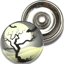 1pc 18mm Snap On Charm Round Bats Halloween Tree Moon ZR792