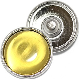 1pc 18mm Round Snap On Charm Cat-Eye Yellow ZR806