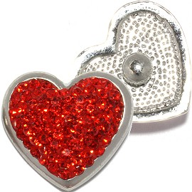 1pc 18mm Round Snap On Charm Rhinestone Heart Red ZR815