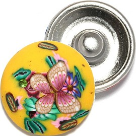 1pc 18mm Snap On Charm Clay Flower Yellow ZR824