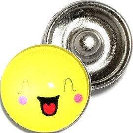 1pc 18mm Snap On Charm Funny Face Yellow ZR896