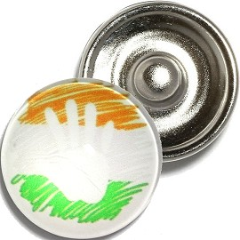 1pc 18mm Snap On Charm Hand Orange White Green ZR907