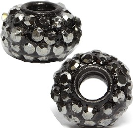 2pc 3.5mm Hole Rhinestone Beads Silver Black 3MZ03