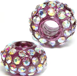 2pc 3.5mm Hole Rhinestone Beads Purple Aurora Borealis 3MZ09