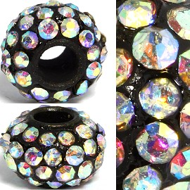 2pc 3.5mm Hole Rhinestone Beads Black Aurora Borealis 3MZ11