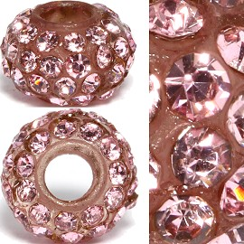 2pc 3.5mm Hole Rhinestone Beads Pink 3MZ12