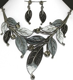"20"" Necklace Earrings Set Leaf Gray Silver Black AE038"