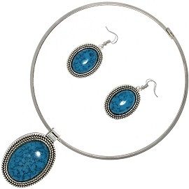 Solid Choker Necklace Earring Set Oval Silver Teal AE116