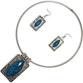 Solid Choker Necklace Earring Set Rectangle Silver Teal AE121