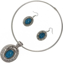 Solid Choker Necklace Earring Set Oval Silver Teal AE131