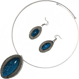 Solid Choker Necklace Earring Set Oval Silver Teal AE136