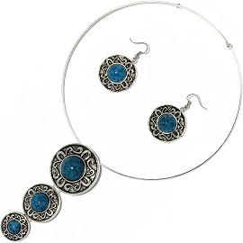 Solid Choker Necklace Earring Set Circles Silver Teal AE151