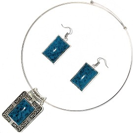 Solid Choker Necklace Earring Set Rectangle Silver Teal AE156