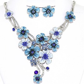 Necklace Earrings Set Flowers Pastel Silver Sky Blue White AE216