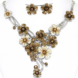Necklace Earrings Set Flowers Pastel Silver Bronze Gold AE217