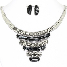 Necklace Earrings Set Horizontal Lines Silver Black AE220