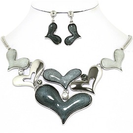 Necklace Earrings Set Cartoon Hearts Silver Gray AE226