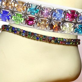 Anklet Stretch Crystal Rhinestone Multi Color Wide AKT04