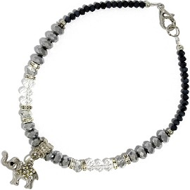 "9.5"" Anklet Elephant Charm Crystal Bead Clear Gray Black AKT05"