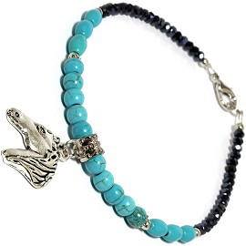 "9.5"" Anklet Horse Head Charm Bead Turquoise Teal Black AKT05"