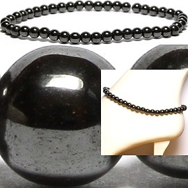 "9.5"" 6mm Anklet Stretch Magnetic Hematite Bead Black AKT07"