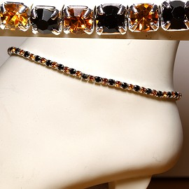 Anklet Stretch Crystal Rhinestone Gold Black AKT08