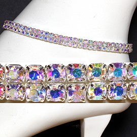 Anklet Stretch Crystal Rhinestone Wider Clear Aura AKT11