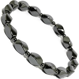 Stretch Anklet -Hematite Shiny Black AKT
