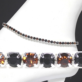 Anklet Stretch Crystal Rhinestone Black Brown AKT28