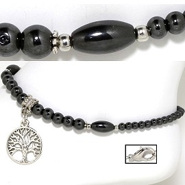 Tree Of Life Anklet Non-Magnetic Bead Hematite Shiny Black AKT64