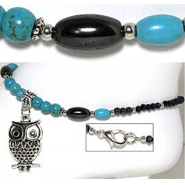 "9.5"" Anklet Crystal Beads Owl Earth Stone Turquoise Black AKT75"